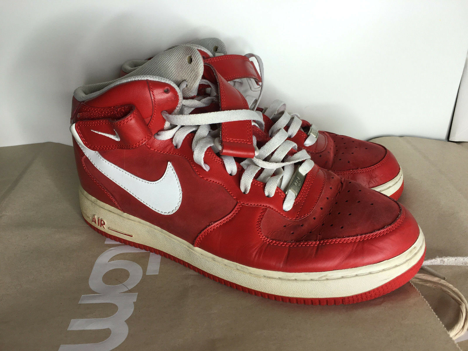Red Mid top Nike Air Force 1 Strap Comfortable