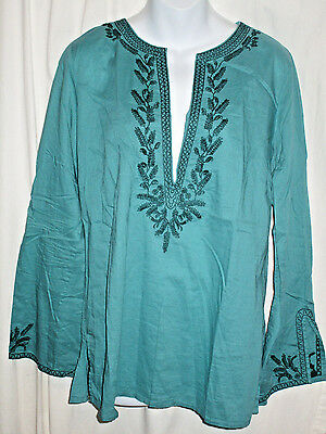 Women's Old Navy Teal Green Tunic Long Sleeve Cotton V-Neck Size L