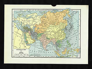 Map Of Asia 1930.Political Map Of Asia Vintage 1930 Map Ebay