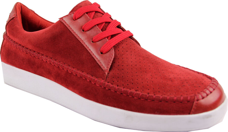 Bravo Agate Mens Sneakers Low Top Red Suede shoes
