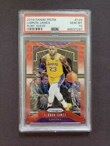 LEBRON-JAMES-2019-20-Panini-Red-Ruby-Wave-Prizm-129-PSA-10-Lakers-Invest