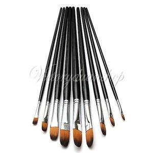 9Pcs Artists Watercolor Acrylic Oil Paint Brush Set Nylon Hair Flat Round Tip