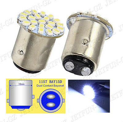 10X White 1157 BAY15D 22 SMD LED Light bulbs Tail Break Stop Turn Signal DC 12V