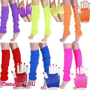 Ladies-Legwarmers-Gloves-leg-warmers-Knitted-Neon-Dance-80s-Party-Costume-1980s