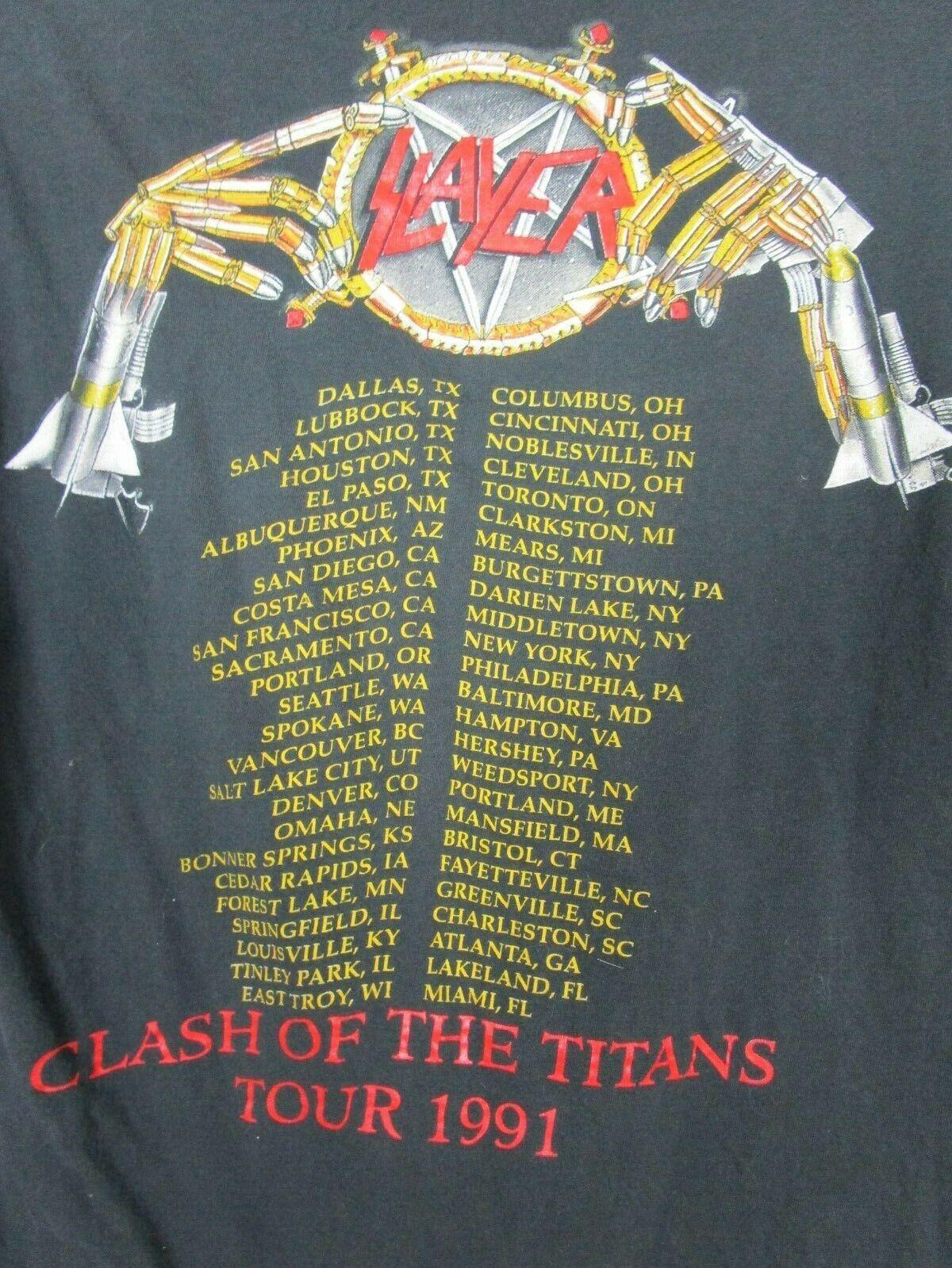 Vintage 1991 SLAYER CLASH OF THE TITANS T-SHIRT R… - image 8