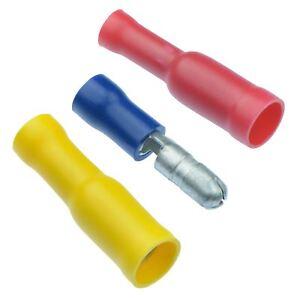 Stecker-Buchse-Knopf-Crimpsteckverbinder-Klemmen-Rot-Blau-Gelb