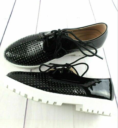 WOMENS LADIES FLAT LOW HEEL LACE UP SMART VINTAGE OXFORD SHOES BROGUES SIZE