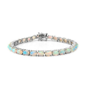 "Platinum Over 925 Sterling Silver Opal Tennis Bracelet Jewelry Size 7.25"" Ct 9"