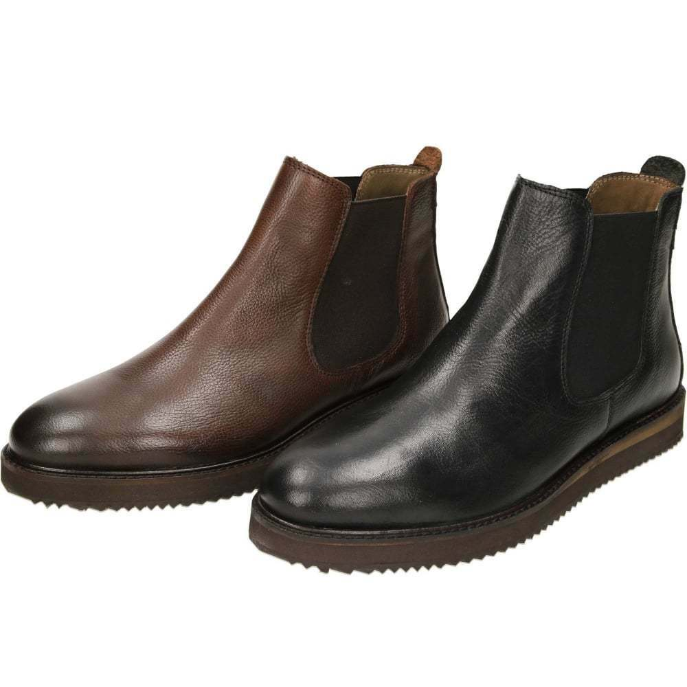 Frank Wright Edwin Black Milled Leather Chelsea Pull On Brown Ankle Boots