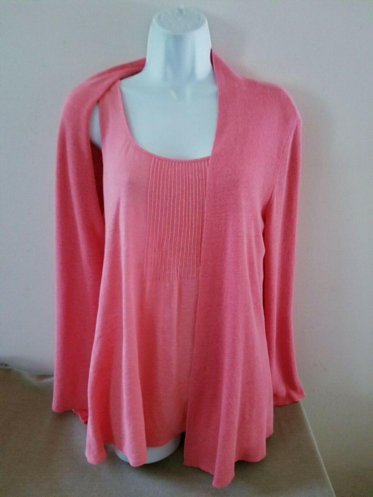 Eileen Fisher Twinset L S Öffnen Flow Cardigan + Shell Sweater Set in Coral Sz M L