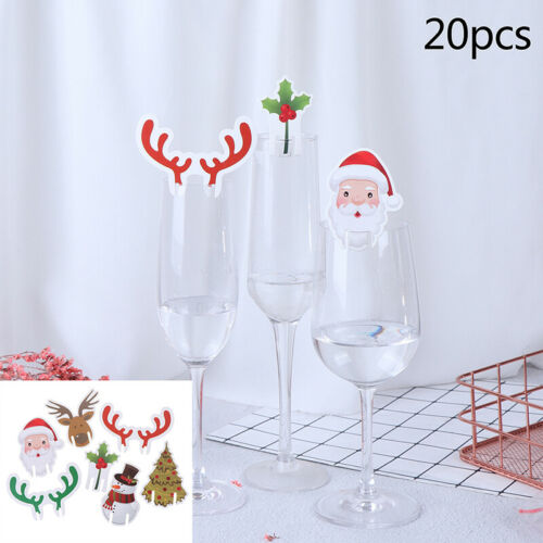 20pcs Christmas Glass Sign Flag Xmas Party Food Tableware Decoration Orname IYZH