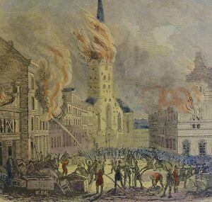 Alter-Stich-um-1850-DE-ST-PETRIKERK-OP-DEN-7-MEI-1842-HAMBURG-IN-FLAMMEN