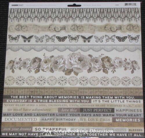 """Kaisercraft /'PEN /& INK/' 12x12/"""" Sticker Sheet Vintage//Sepia//Butterflies KAISER"""