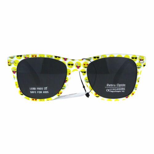 Kids Child Size Emoji Happy Face Plastic Horn Rim Sunglasses