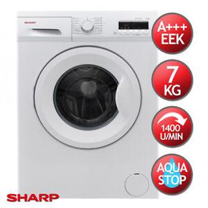 Waschmaschine A+++ 7kg 1400 U/m Aqua Stop SHARP Frontlader ES-FB7143W3A-DE LED