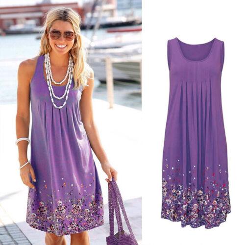 UK Womens Boho Floral Sleeveless Ladies Summer Beach Loose Mini Dress Long Tops