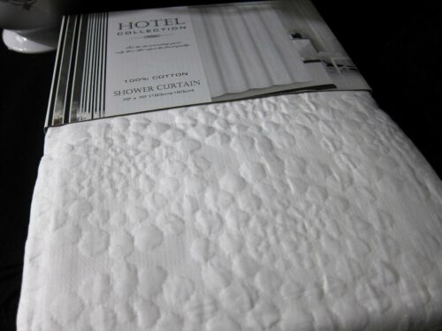 100% COTTON White Matelasse Bubbles Floral Fabric Shower Curtain 72x72 NEW