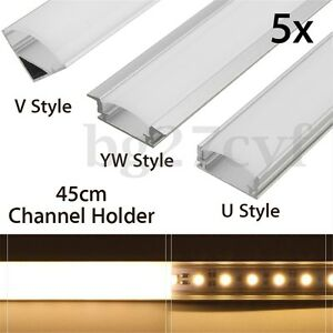 Details About 5 X 45cm Aluminium Channel Holder U V Yw Style For Led Strip Light Bar Lamp