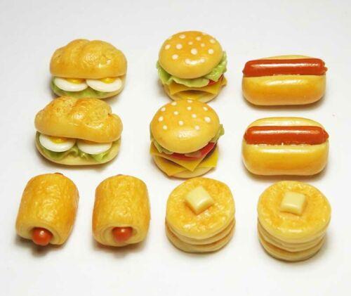 Doll Mini Tiny Burger Hot Dog Pancakes Bread 10 Mixed Dollhouse Miniature Food