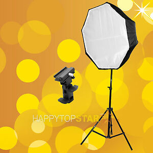"80 Cm 31.5"" Octagon Umbrella Softbox Brolly Reflector + Light Stand + Flash Mount-afficher Le Titre D'origine"