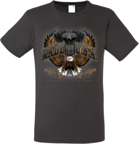 T Shirt in Graphiteton mit einem Biker-,Chopper-,Oldscoolmotiv Modell Made in US