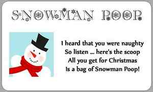 Snowman Poop Poem Stickers Christmas Novelty Labels Fun Xmas