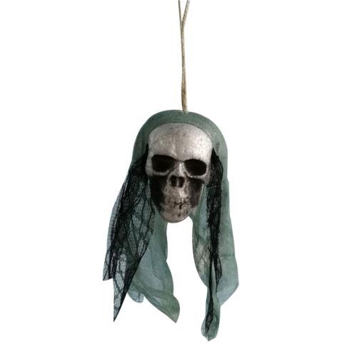 1x Mousse Suspendre Tête Crâne Hanté Pirates Ornement Décor Halloween Maison Bar
