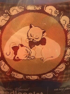 Vintage Cat Nap Needlepoint Kit Cross Stitch Pillow Kit W/ Mice By Something Spe