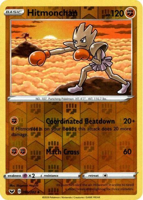 Pokemon TCG Card - Hitmonchan 95/202 - Reverse Holo - NM