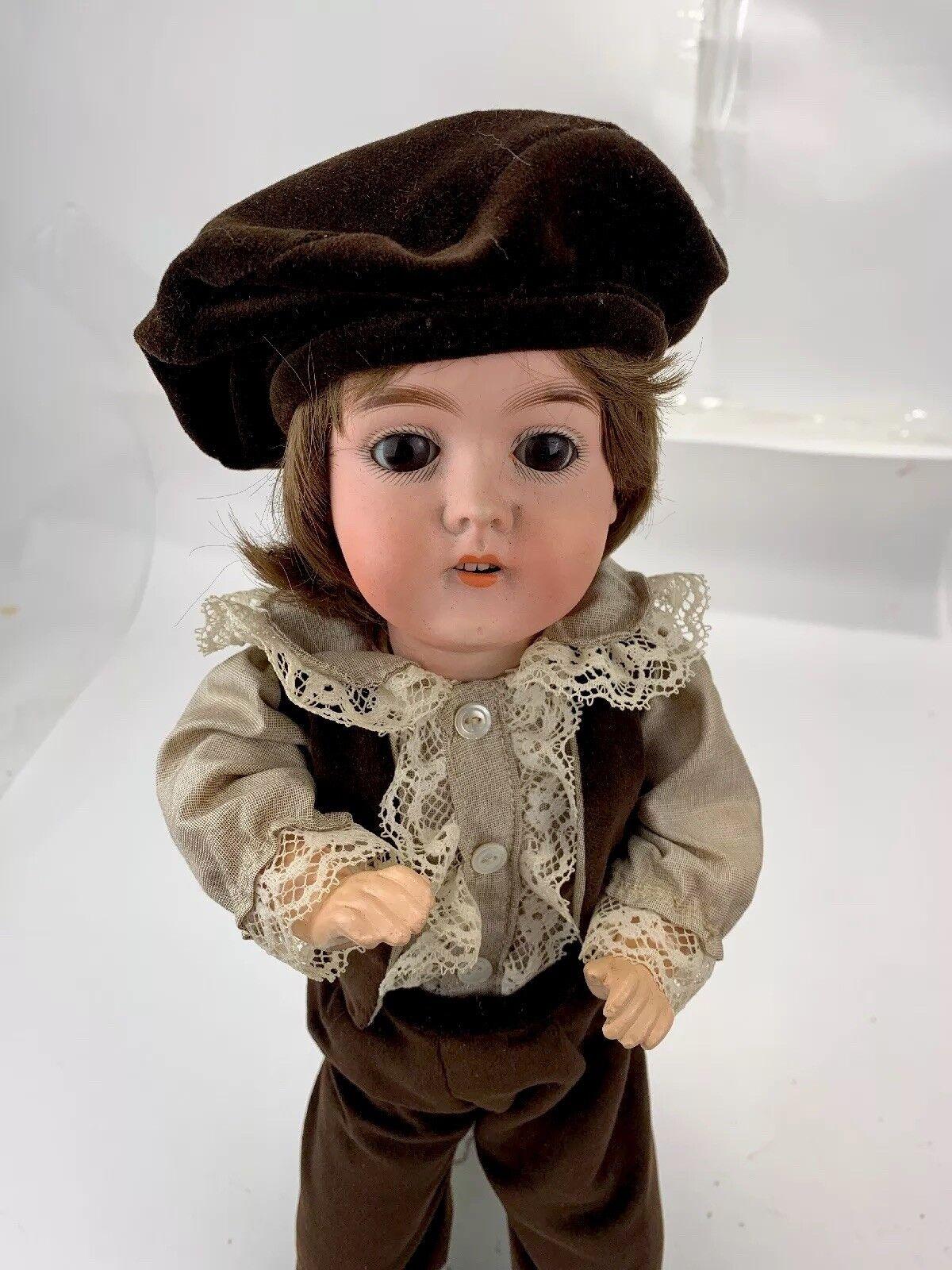 Antique Karl Hartmann 16  Bisque Head Boy Doll w  Composition Body Cabinet Dimensione