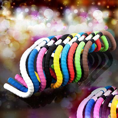 1Pair Bike Bicycle Handlebar Ribbon Grip Bar Tape Wrap 2 Bar Plug 8 Colors BEST