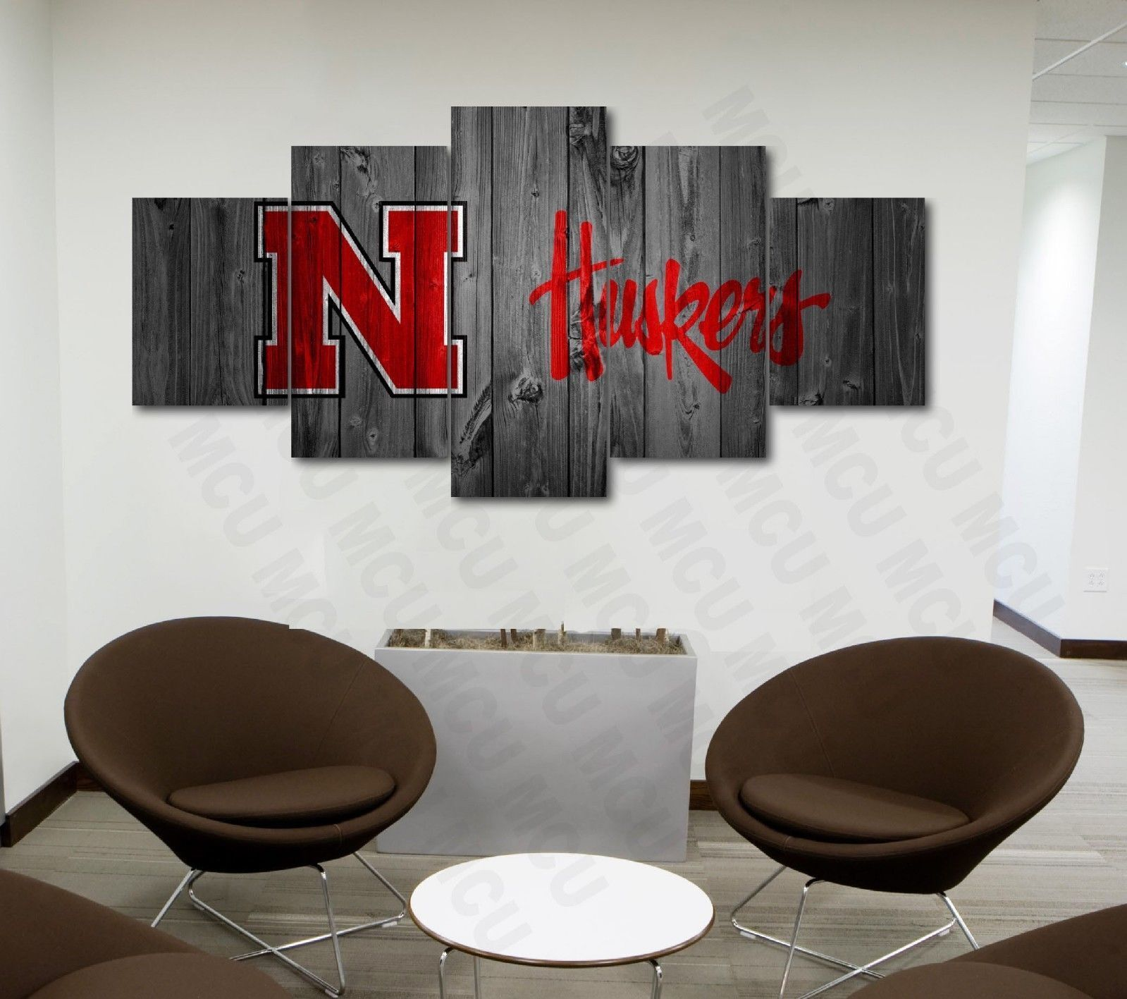 Nebraska Corn Huskers College Football Canvas Print Wall Home Decor Five Piece