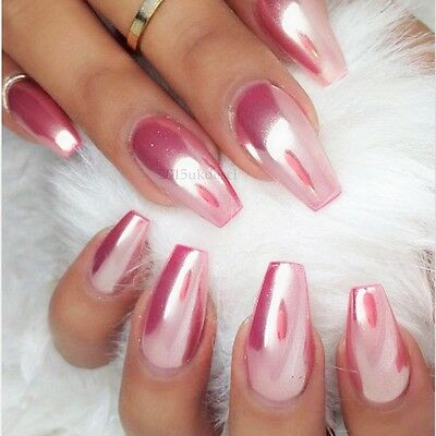 Rose Gold Mirror Powder Chrome Effect Nail Silver Pink Purple Powder Gel Polish 605734763087 Ebay