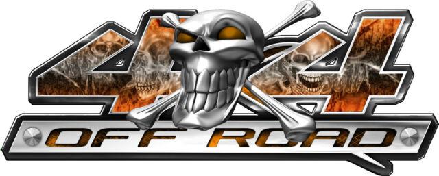 4 x 4 Skull Series Orange Truck Vehicle Graphic Decals Stickers