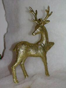 Glitzer Hirsch aus Porzellan weiß Weihnachten Advent Rentier Figur Deko NEU !!