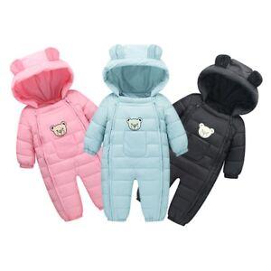 Honghong Baby Rompers Boys Girls Cartoon Bear Winter Autumn Hooded Newborn Jumpsuits
