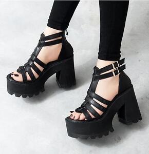 Womens Goth Chunky Heels Platform Punk