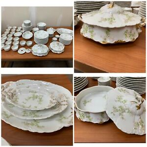 Limoges-Dinnerware-Set-Haviland-The-Montebello-Green-Floral-112-Pieces