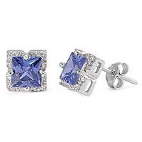 Halo Princess Cut Tanzanite Cz .925 Sterling Silver Stud Earrings on sale