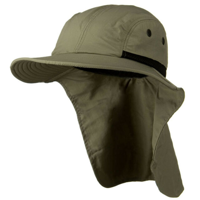 Mens Womens Camping Outdoor Hiking Sun Protection Hat With Neck Cover Flap  GREEN 9ca57296f68