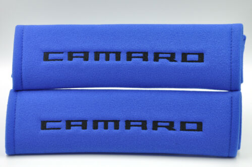 Embroidery Seat Belt Cover Soft Harness Black on Blue Pads For Chevrolet Camaro