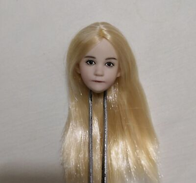 1//6 Little Girl Head Carving Young Girl Head Sculpt Blond Straight Hair Head