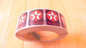 Vintage Original Texaco Oil Company Roll of Small Vinyl Decals / Stickers - NOS!