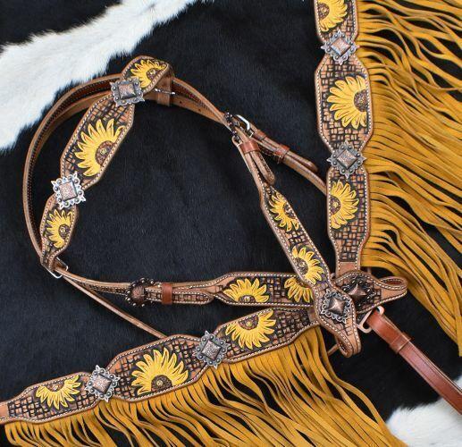 Western Saddle Horse Leather Tack Set w// Sunflower design Bridle Breast Collar