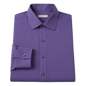 New-Van-Heusen-Men-039-s-Fitted-Checked-Spread-Collar-Dress-Shirt-Purple-MSRP-45