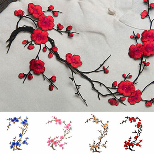 Plum Blossom Flower Crafts Embroidery Sew Iron On Patch Badge Clothes AppliqueB$