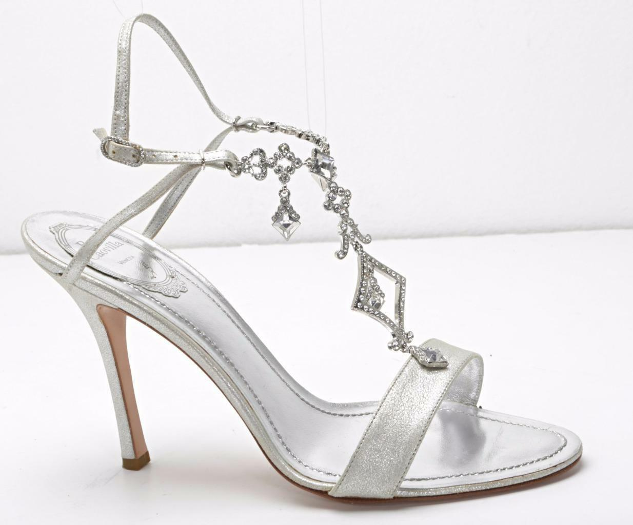RENE CAOVILLA argent Leather High Heel Strappy Jeweled Sandal Pump Pump Pump 10-40 NEW 6b4691