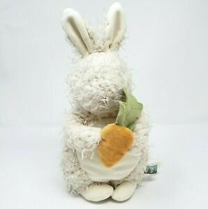 """12"""" BUNNIES BY THE BAY WHITE BABY BUNNY HOLDING CARROT STUFFED ANIMAL PLUSH TOY"""