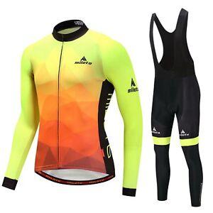 Miloto Men/'s Road Bike Clothing Long Sleeve Cycle Top Padded Cycling Tights Kit