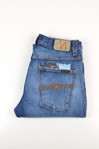 32966 Nudie Jeans Slim Jim Used Electric Indigo Bleu Hommes Jean Taille 32/34